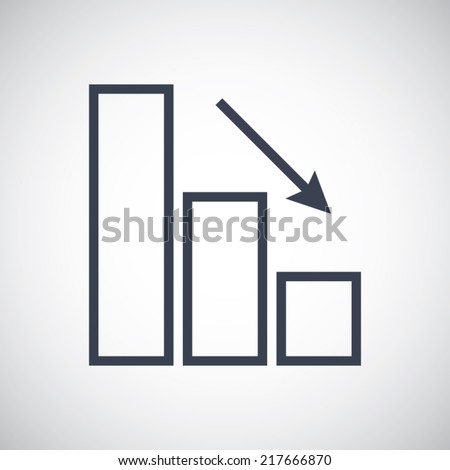 Decrease graph icon in line style - stock vector