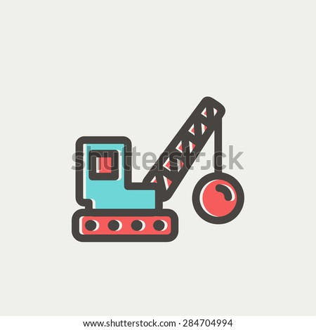 Dedmolition trailer icon thin line for web and mobile, modern minimalistic flat design. Vector icon with dark grey outline and offset colour on light grey background. - stock vector