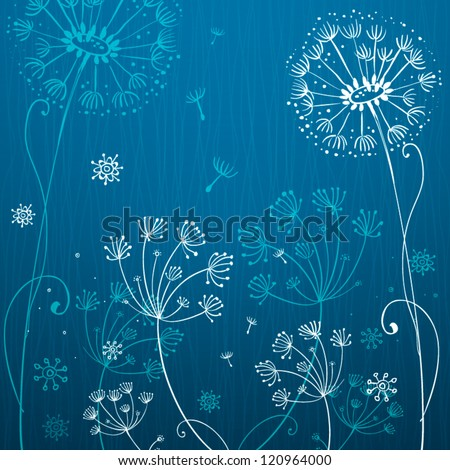 Deep blue and white dandelion flowers - stock vector