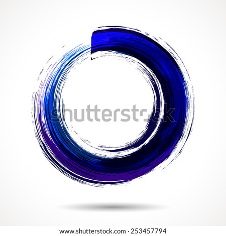 Deep blue brush painted watercolor circle on white background - stock vector