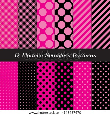 Deep Pink, Pink and Black Jumbo Polka Dot, Gingham and Stripes Patterns. Perfect for Girls Monster party or Pink Paris party or Bachelorette party. Pattern Swatches made with Global Colors. - stock vector