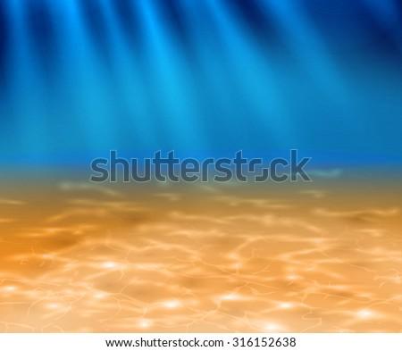 Deep sandy bottom of the ocean - stock vector