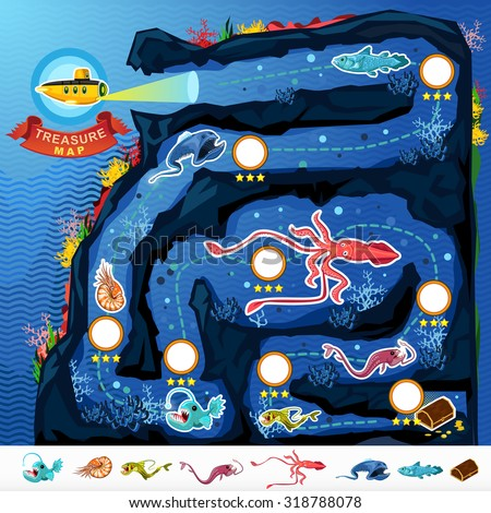 Deep Sea Exploration Treasure Game Map. Treasure Game Map Of Monsters Of The Deep Blue Sea Collection Set .Contains Nautilus, Coelacanth, Gulpereel, Colossal Squid, Anglerfish, Yellow Submarine  - stock vector