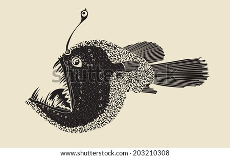 deep see predator fish (melanocetus ) - stock vector