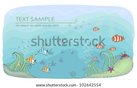 """Deep under the sea background """"Happy world"""" collection - stock vector"""