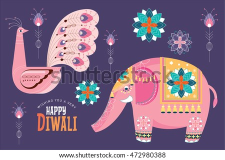 deepavali/ diwali elements vector/illustration