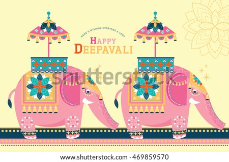 deepavali template indian elephant vector/illustration