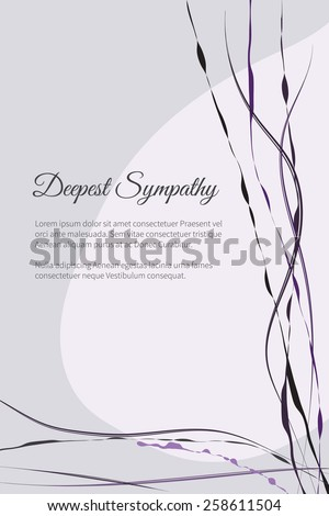 Deepest sympathy vector lettering in abstract style, place for text - stock vector