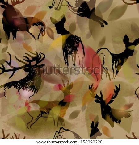 Deer and doe / Autumn seamless background  - stock vector