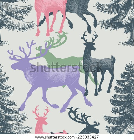 Deer and pine tree forest seamless pattern, Christmas theme