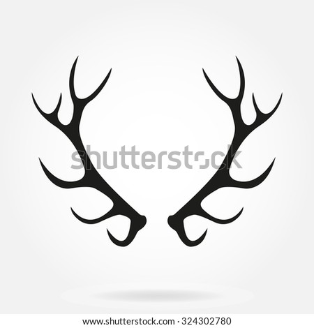 Deer antlers. Horns icon isolated on white background. Vector black silhouette. - stock vector