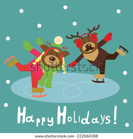 deer couple on the figured  skates - stock vector
