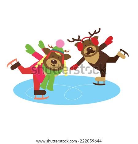 deer couple on the skates illustration - stock vector