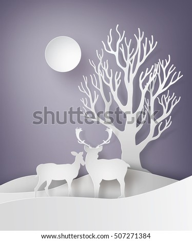 Deer couple standing together in a field of snow with tree,In the Christmas day .paper art style.