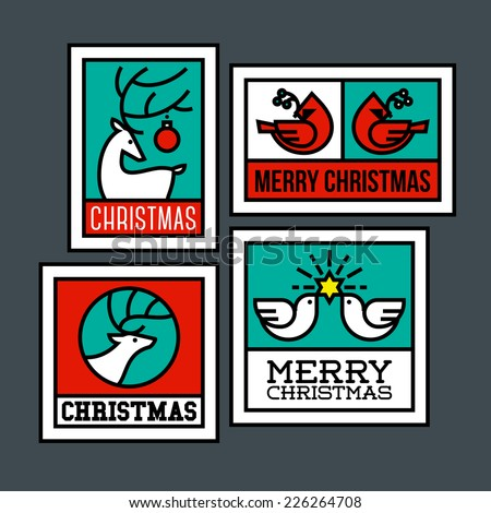 Deer, elk, cardinal bird and dove of peace with holly branch. Traditional symbols of Christmas - stock vector