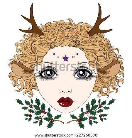 Deer girl with beautiful hair and holly berries, perfect for seasonal greetings, Christmas and New Year - stock vector