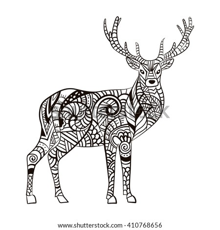 Deer hand drawn deer adult anti stock vector royalty free for Deer coloring pages for adults
