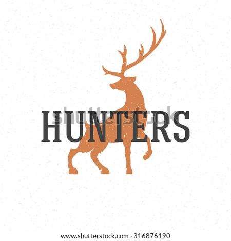Deer hand drawn logo emblem template vector vintage design element. - stock vector