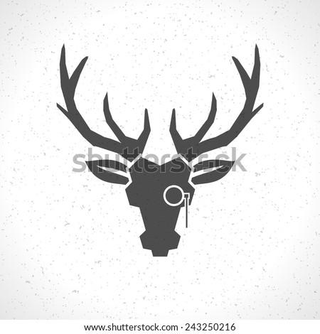 Deer Head Horns Face Logo Emblem Stock Vector (2018) 243250216 ...