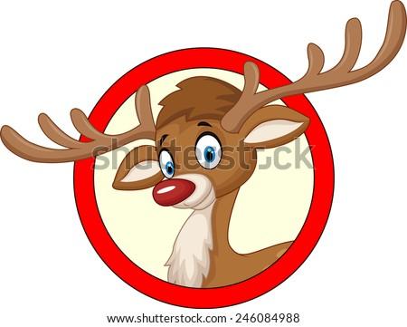 Deer head cartoon - stock vector
