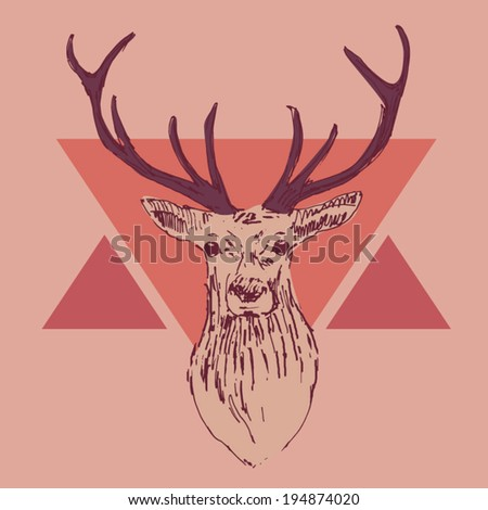 deer head engraving style, hipster, vintage illustration, hand drawn - stock vector