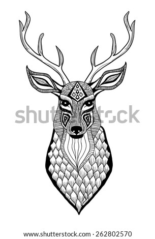 deer head engraving style, vintage illustration, hand drawn - stock vector