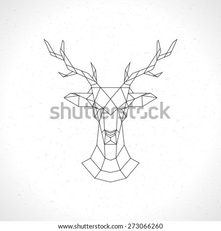 Deer head geometric lines silhouette isolated on white background vintage vector design element illustration  - stock vector