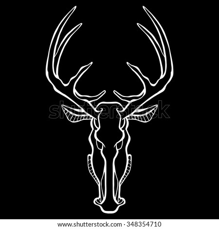 Deer Head Icon black and white. The illustration in style of heraldry. Print for a mascot and T-shirt or game graphic. Can be used for tattoo.