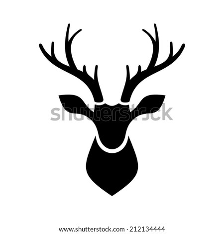 Deer Head Icon on white Background. Vector Illustration - stock vector