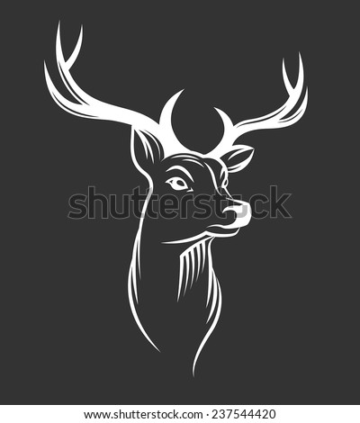 Deer head on black background - stock vector