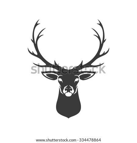 Deer Head Silhouette Isolated On White Background Vector object for Labels, Badges, Logos  and other Design. - stock vector