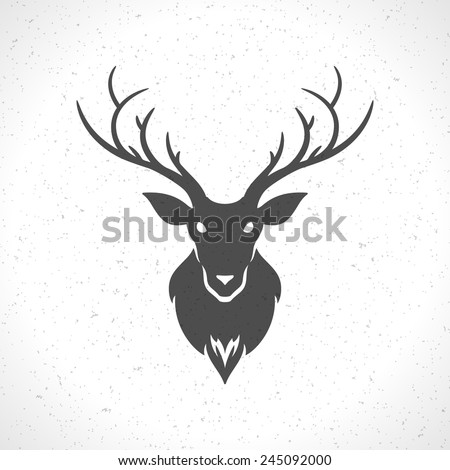 Deer head silhouette isolated on white background vintage vector design element illustration  - stock vector