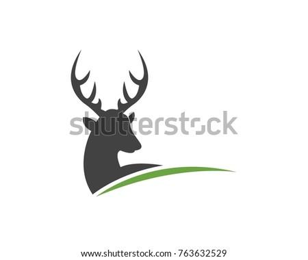 Deer Head Silhouette Logo Design Template Stock Vector HD (Royalty ...