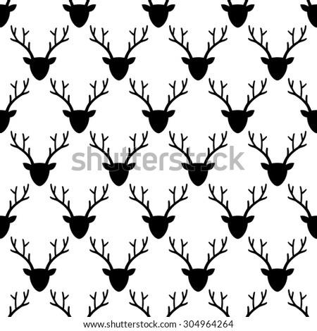 Deer head silhouette seamless pattern in black and white. Animal head texture. - stock vector