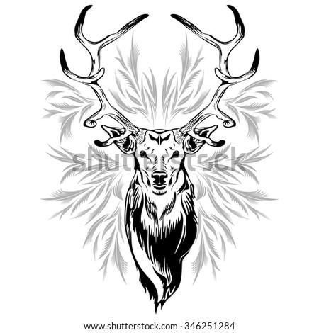Deer Head Tattoo Style - stock vector