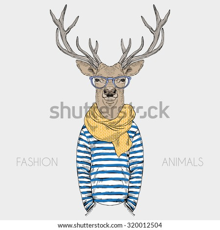 deer hipster dressed up in frock and cosy scarf, furry art fashion illustration - stock vector