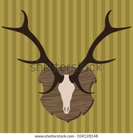 Deer horns hunting trophy illustration background vector - stock ...