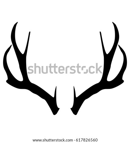 Deer antlers on free deer head silhouette stencil