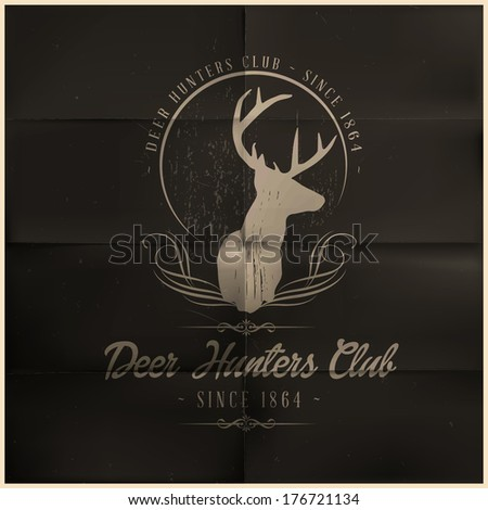Deer Hunters Club badge - stock vector