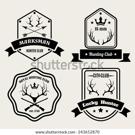 Deer hunting badges. Set of logos for hunting club. Vector illustration - stock vector