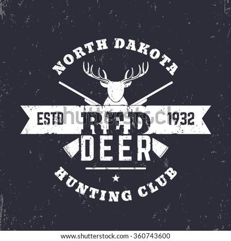 Deer Hunting Club vintage logo, badge, with crossed rifles, guns, vector illustration - stock vector