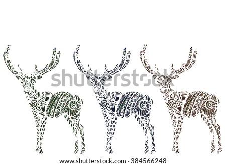 Deer illustration, deer male, animal with drawing, animal deer, long horns, deer drawing - stock vector