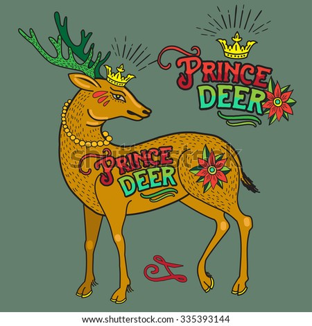 Deer illustration with old school tattoo style. Vintage vector hand drawn art graphic element, emblem, logo, insignia, sign, identity, logotype, poster. - stock vector