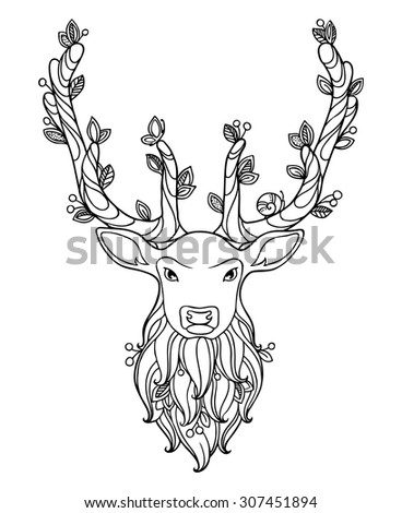 Deer in doodle style. Floral, ornate, decorative, tribal vector animal illustration. Black and white monochrome design. Antlered deer, berries and leaves. Zentangle hand drawn coloring book page - stock vector