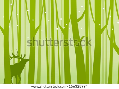 Deer in Forest Green. Deer on a background of Forest Green. Vector illustration. - stock vector