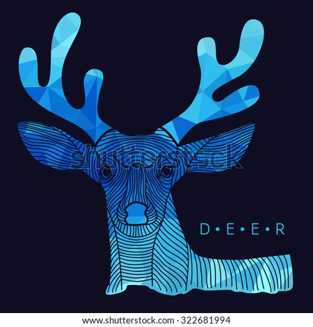 Deer - line border and Blue low poly vector Design - stock vector