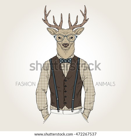 deer man dressed up in retro style, furry art illustration, fashion animals