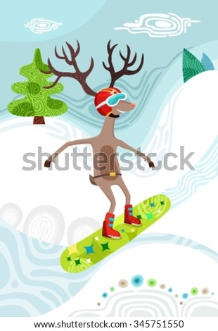 deer on snowboard - stock vector