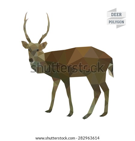 Deer polygon vector - stock vector