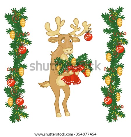 Deer Santa gives a bouquet of branches of spruce and gold cones. Greeting card with love at Christmas, new year Fir-tree branches.